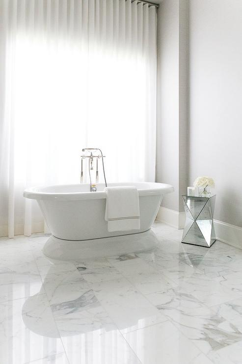 White Marble Staggered Bathroom Floor Tiles Design Ideas