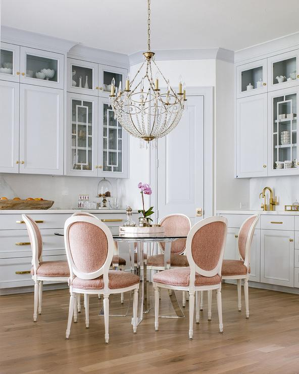 Pink Round Back French Dining Chairs Transitional Kitchen