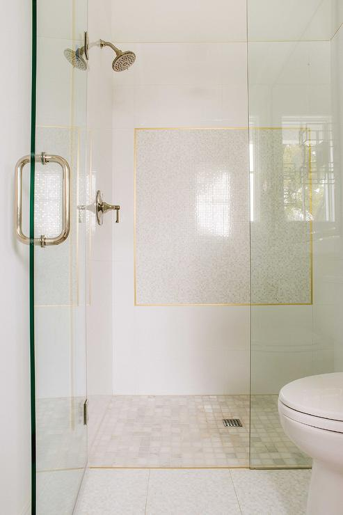 Gold Tiles On Bath Walls Contemporary Bathroom