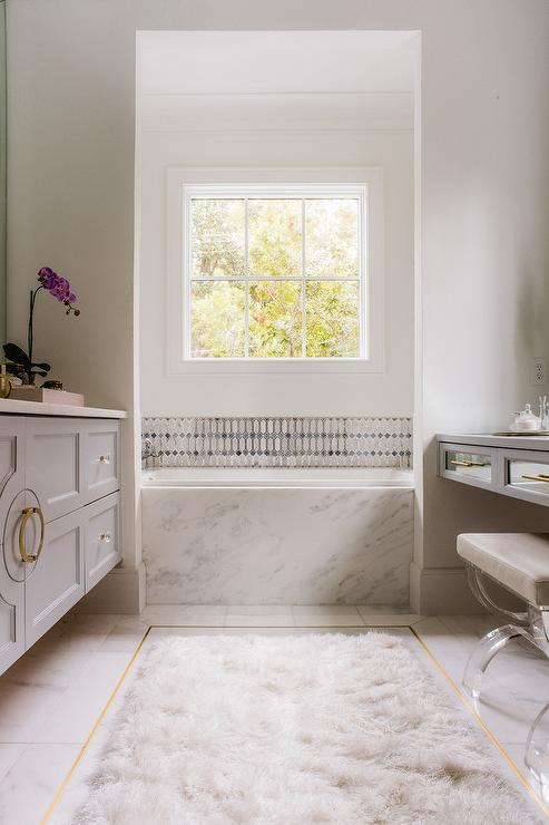 White And Gold Marble Floor Tiles Design Ideas