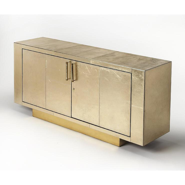 Luton Gold Leather Buffet Table - Gold Leather Buffet Table