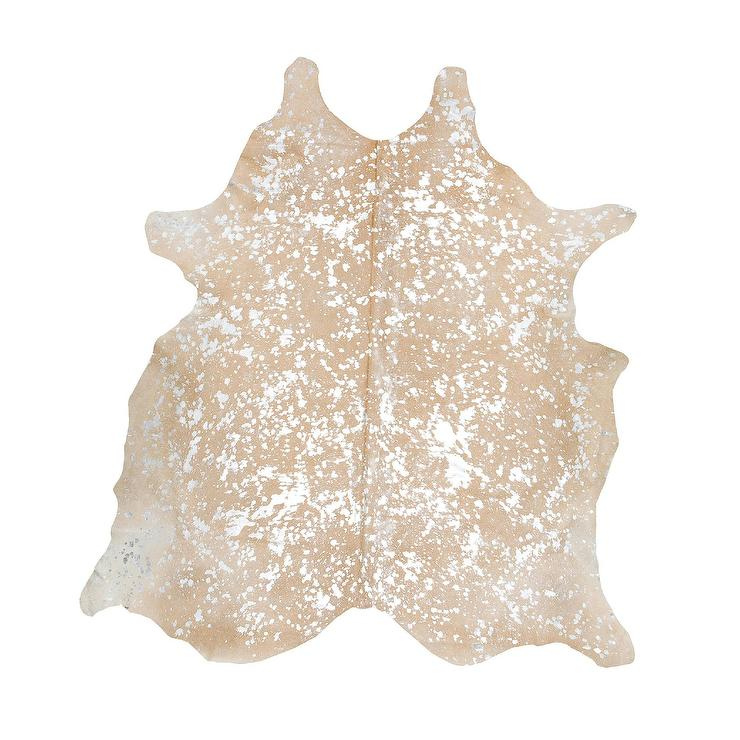 silver and beige metallic speckled cowhide rug