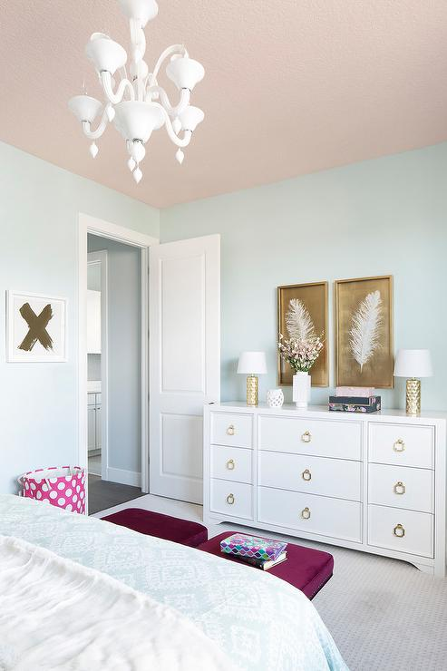 White And Gold Feather Art Transitional Girl S Room