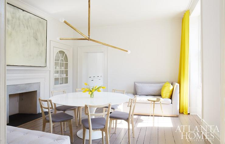 Contemporary Dining Room In A Neutral And Yellow Accent Color Scheme  Features A Light Gray Chaise Lounge. Part 27