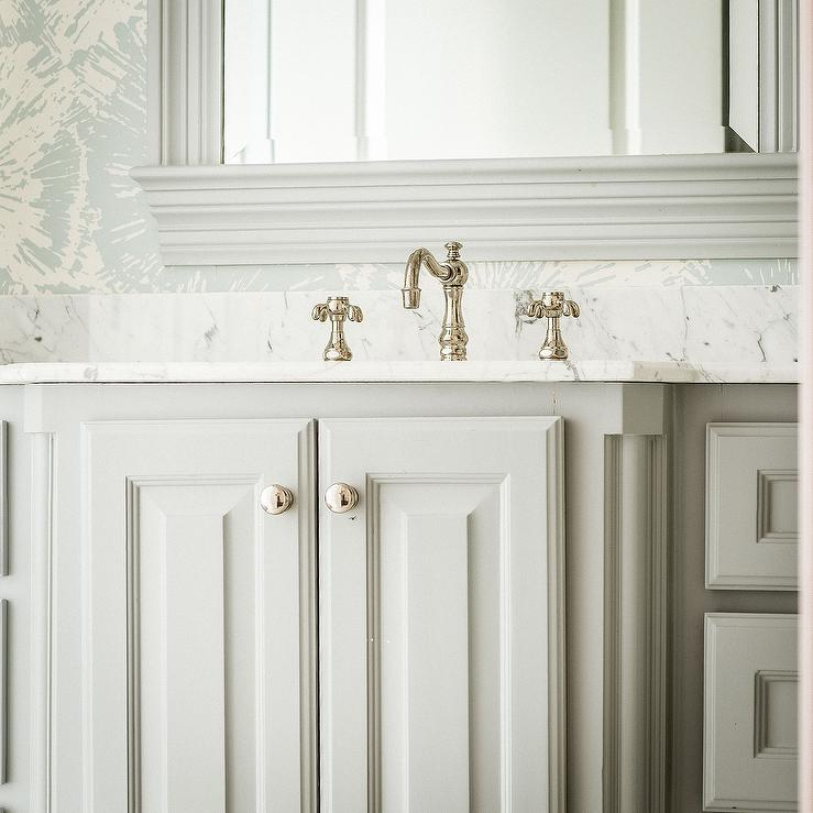 Gray Sink Vanity With Raised Panel Cabinet Doors Transitional