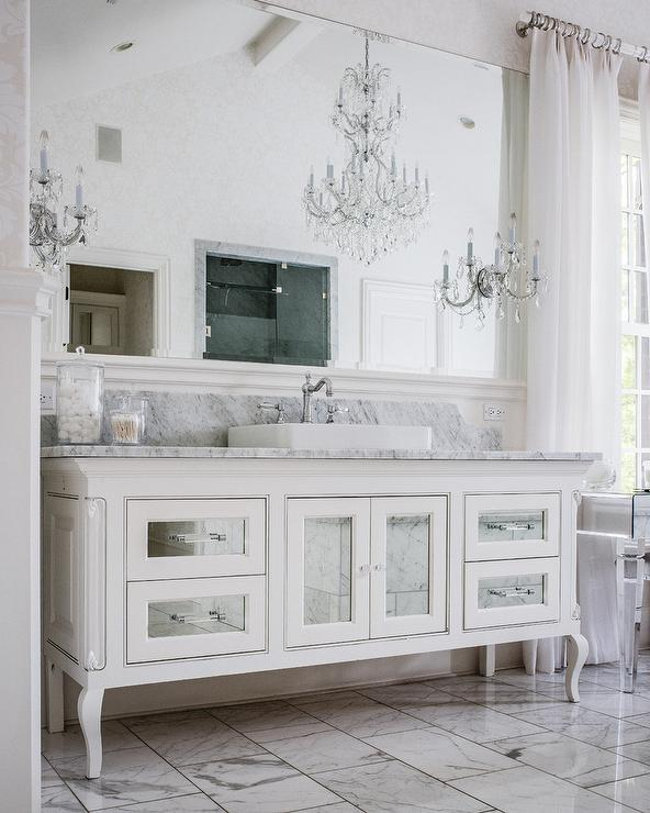 Mirrored Cabinet Doors And Drawer Fronts On Bath Vanity French - Bathroom cabinet doors and drawer fronts