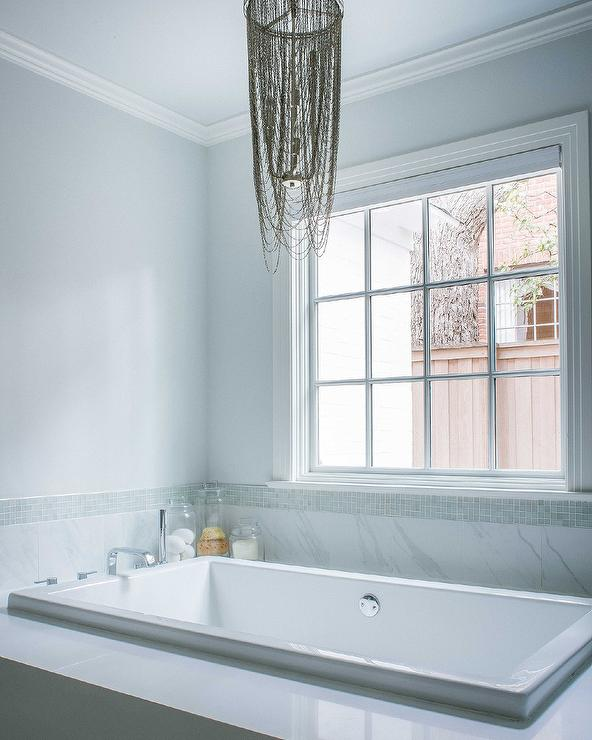 privacy for bathroom window over tub decorative window.htm metallic fringe chandelier over bathtub transitional bathroom  metallic fringe chandelier over bathtub