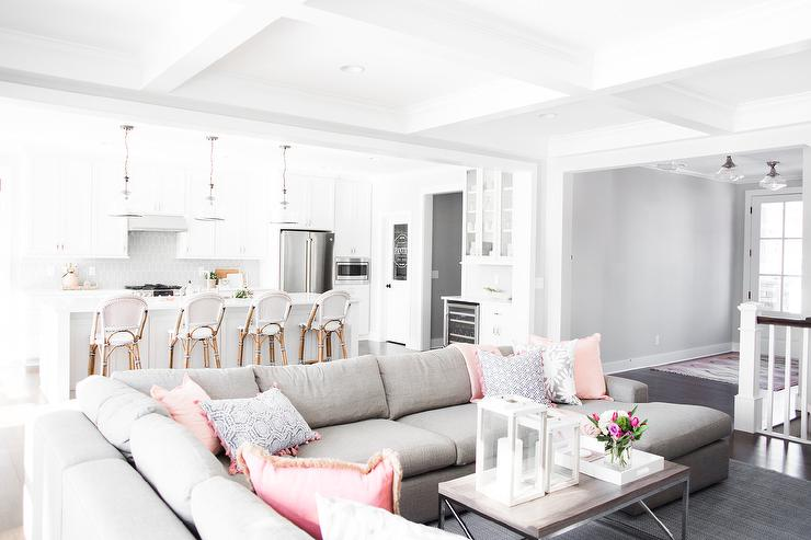 Gray Sectional Sofa With Pink Pillows Contemporary