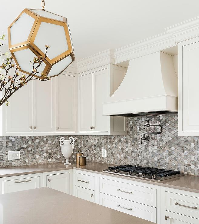 Gray Marble Hex Tiles With Off White Cabinets Transitional Kitchen