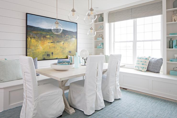 Staggered Dining Table Pendants - Cottage - Dining Room