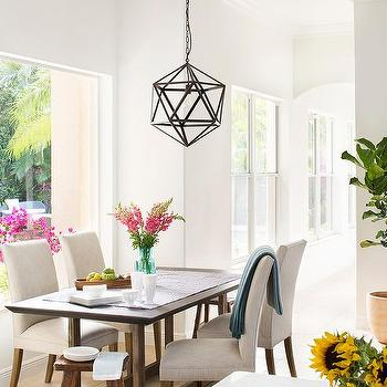 Cream Linen Dining Chairs With Dark Oak Table