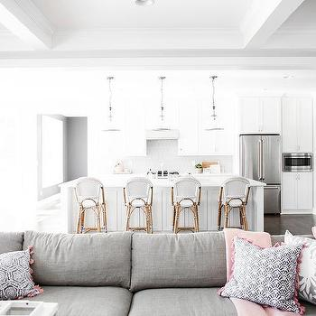 Pink Pillows On Gray Sectional