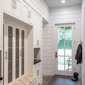 White mudroom lockers with metal mesh doors design ideas for Entryway lockers with doors