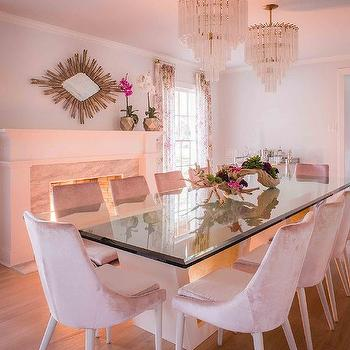 Pink Velvet Dining Chairs With Glass Top Table