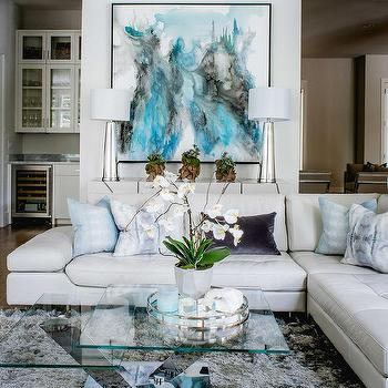 homes and interiors. Nolen Homes and Interiors  Blue Abstract Art Over White Credenza Interior design inspiration photos by