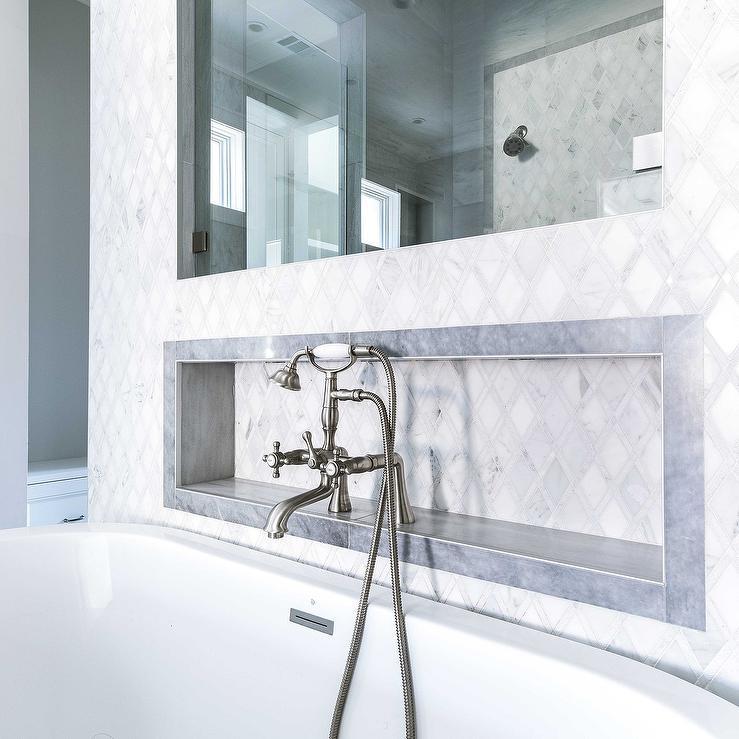 Diamond Marble Tiled Niche Over Oval Bathtub - Transitional - Bathroom