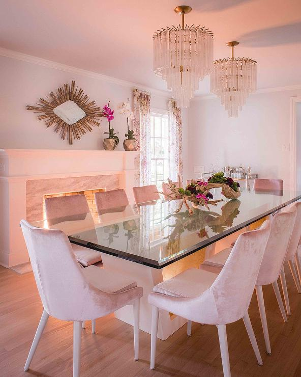 Delicieux Pink Velvet Dining Chairs With Glass Top Table