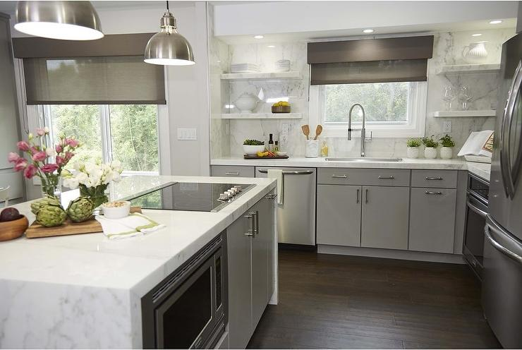 Gray Island With White Quartz Waterfall Countertop