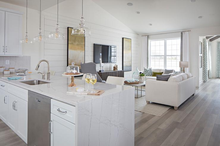 White Quartz Waterfall Kitchen Island Design Ideas