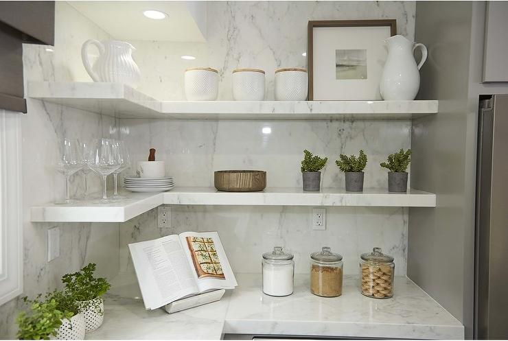 Stacked White Quartz Kitchen Shelving Transitional Kitchen