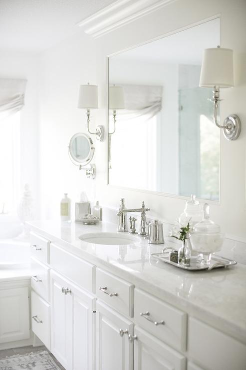 White Quartzite Bathroom Countertops