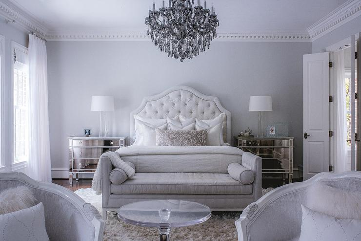 Dark Gray Velvet Wingback Bed With Black Mirrored