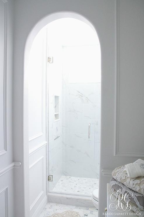 Arched Doorway to Shower - Transitional - Bathroom