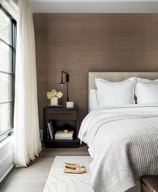 Heather Gray Headboard on Brown Grasscloth Wall - Modern ...