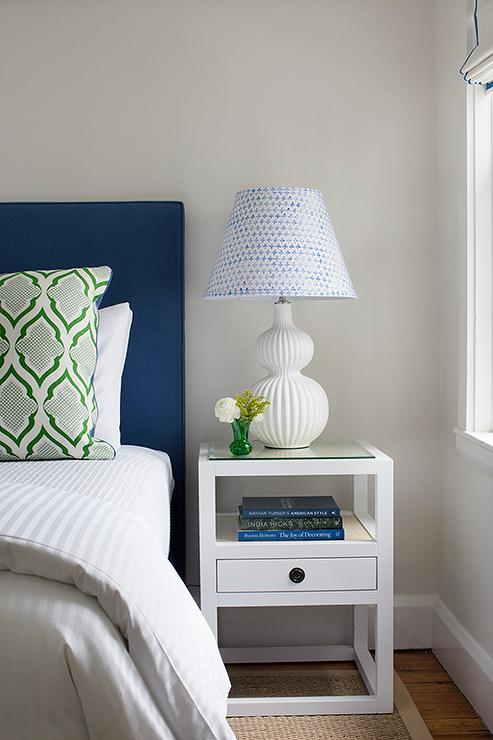 Navy Blue Grasscloth Nightstand With Ring Pulls
