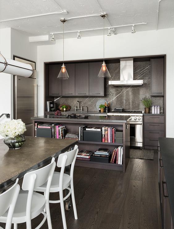 Modern Dark Brown Kitchen With Greystone Marble