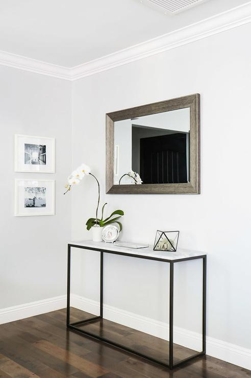 Marble Frame Console Table with Beveled Mirror - Transitional ...