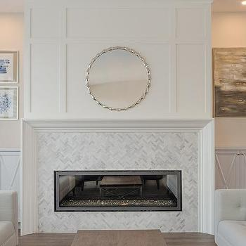 Light Gray Fireplace Mantle With Dark Gray Herringbone