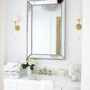 Gold Beaded Beveled Bath Vanity Mirror Design Ideas
