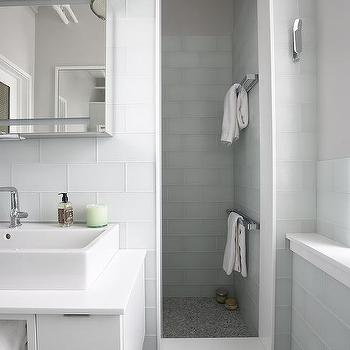 Large White Glass Shower Tiles With Gray Mosaic Shower Floor