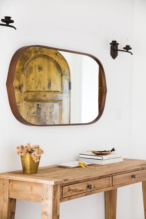 Foyer Table Oval : Farmhouse foyer table with leather mirror transitional