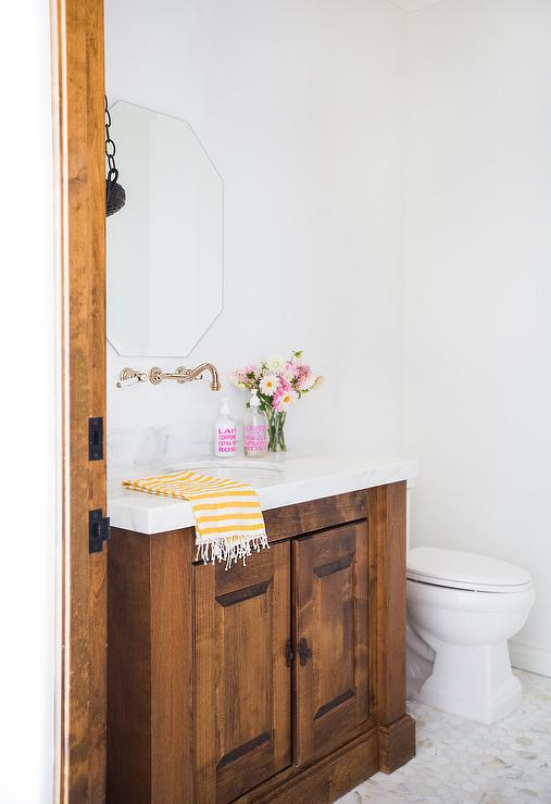 Solid Oak Washstand With Vintage Wall Mount Faucet Transitional
