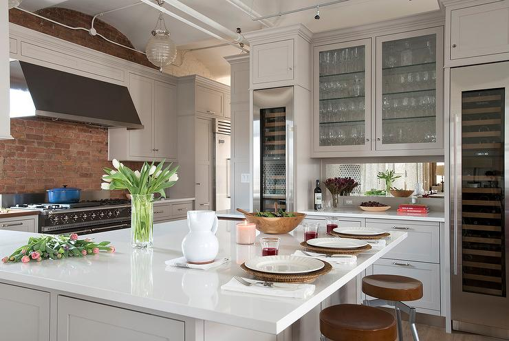 Light Gray Cabinets With Red Brick Backsplash Transitional Kitchen