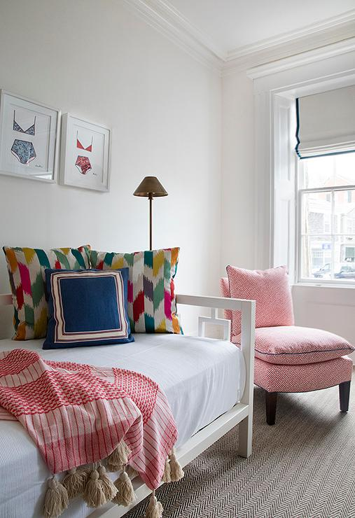 Pink Slipper Chair With Gray Herringbone Rug Transitional Bedroom