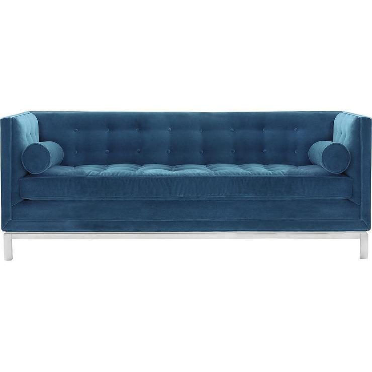Lampert Blue Velvet Tufted Sofa