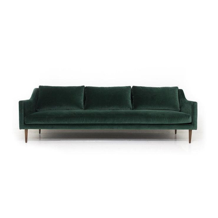 Naples Green Velvet Walnut Sofa