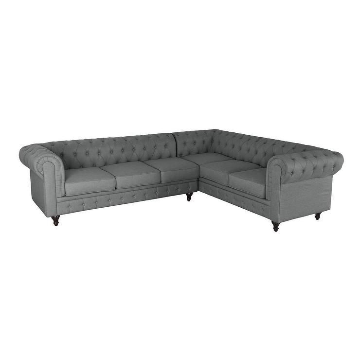 Scroll Gray Tufted Rolled Arms Sectional
