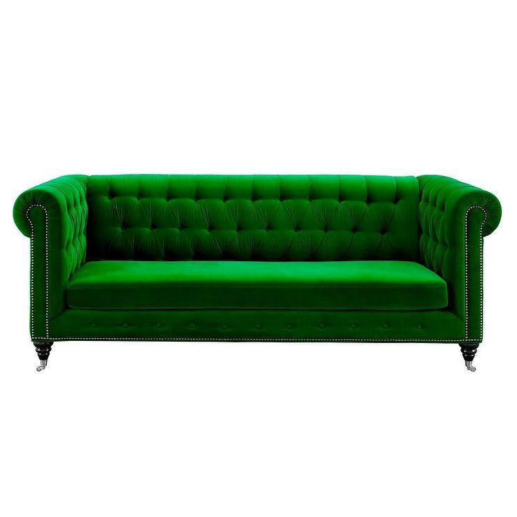 Leventhal Green Velvet Tufted Sofa