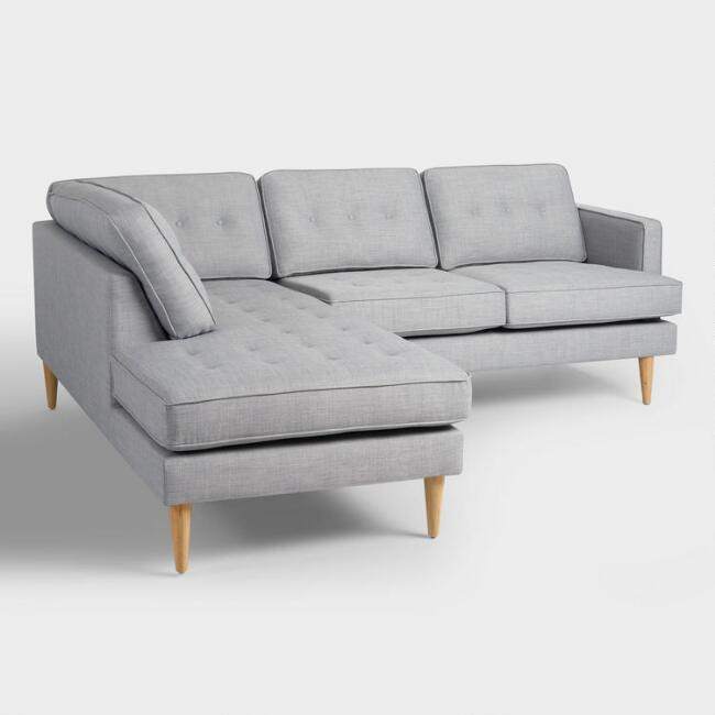 Dove Gray Woven Apel Sectional Sofa
