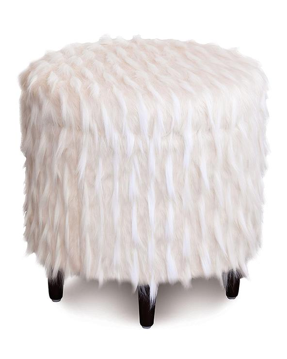 Round Ivory Fur Storage Ottoman - Faux Fur Round Ottoman - Products, Bookmarks, Design, Inspiration