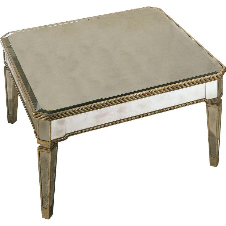 oval antique mirrored panels coffee table
