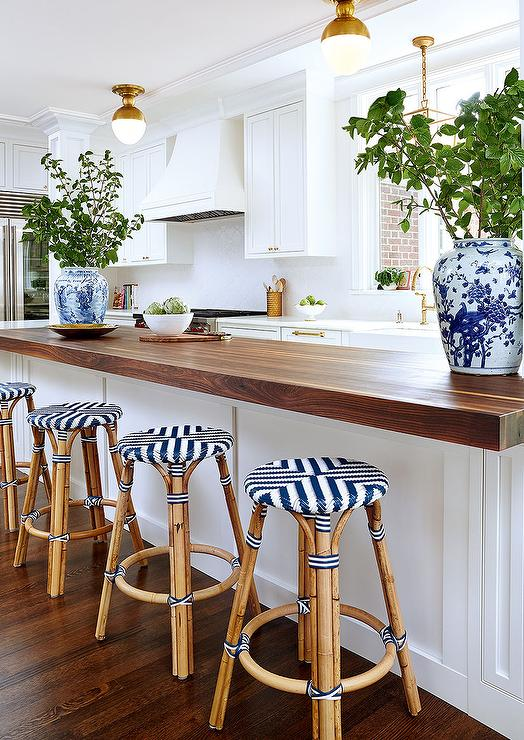 Butcher Block Kitchen Peninsula With Backless Rattan