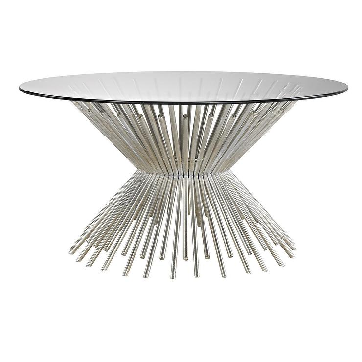 Brookland Round Silver Rods Coffee Table, Round Silver Table