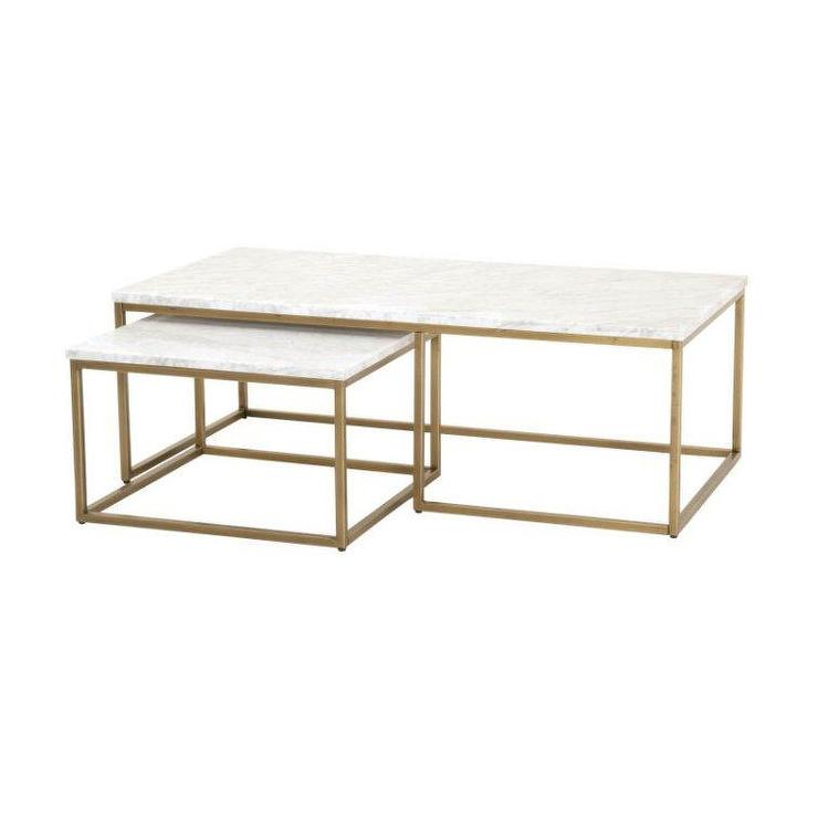 White Marble Coffee Table Set: White Marble Round Gold Base Coffee Table