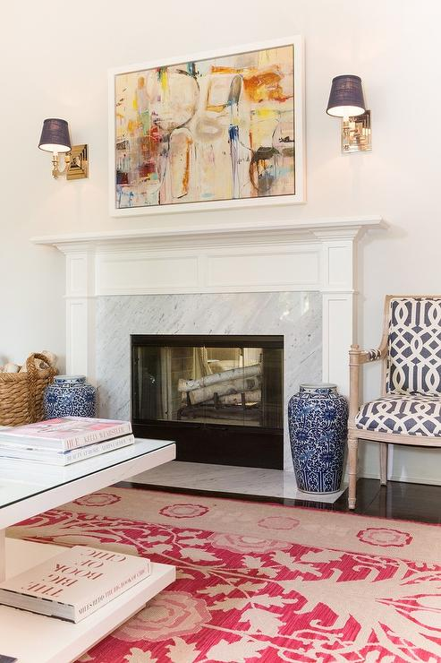 Fireplace With Blue Ginger Jars Transitional Living Room