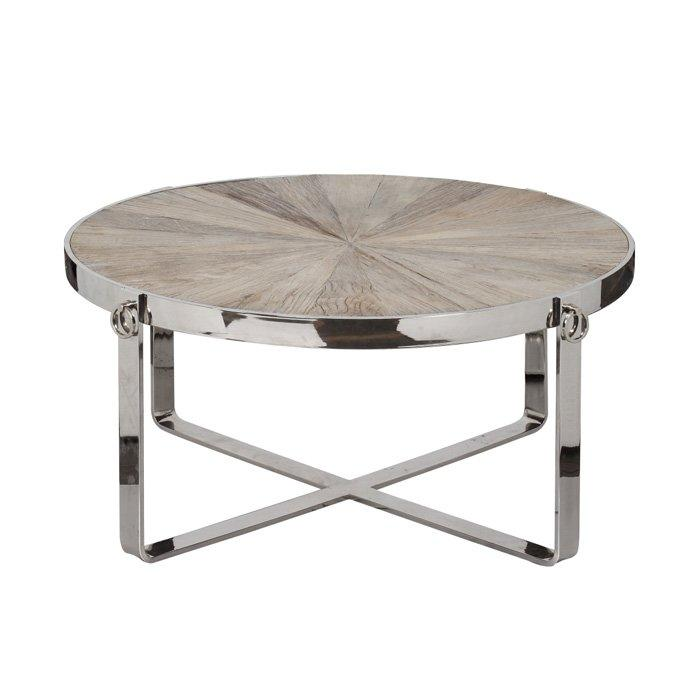 Colville Round Wood Chrome Coffee Table